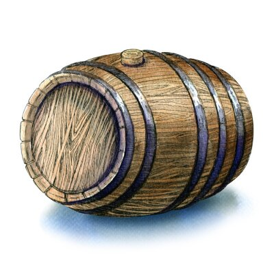 Wall mural Wooden oak barrel isolated watercolor illustration on white background