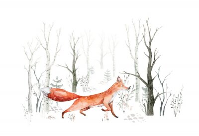 Wall mural Woodland watercolor cute animals baby fox. Nursery bunny Scandinavian forest nursery fox design. Isolated character