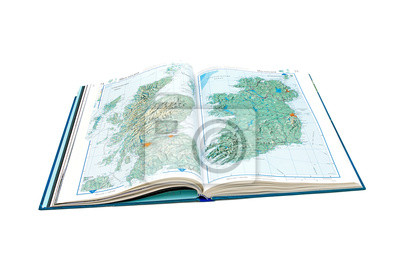 World Atlas. open pages of Scotland and Ireland.