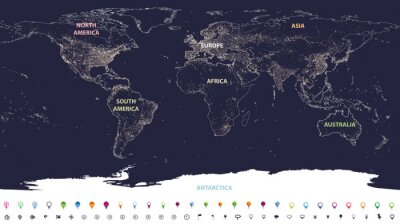 Wall mural world city lights map with labeled continents in different colors and location icons