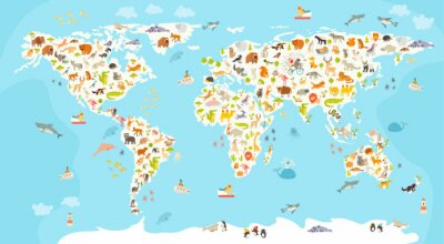 Wall mural World mammal map. Beautiful cheerful colorful vector illustration for children and kids. Preschool, baby, continents, oceans, drawn, Earth