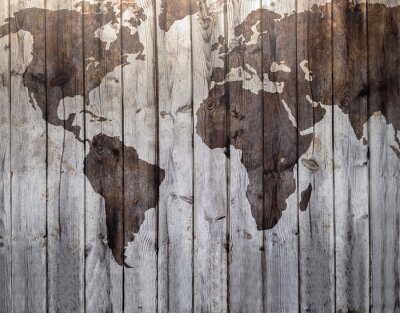 Wall mural World map drawn on canvas wood effect