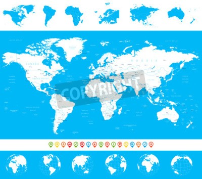 Navigation World Map.World Map Globes Continents Navigation Icons Illustration Wall