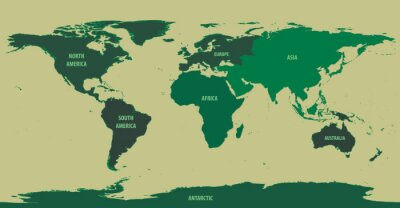 Wall mural World Map Green With Continent Names
