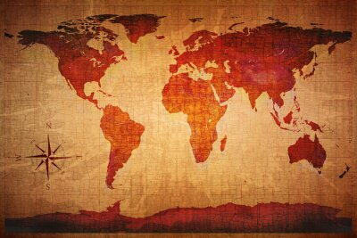 Wall mural World Map Grunge Styled