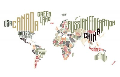Wall mural World map made of typographic country names
