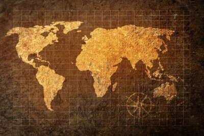 Wall mural world map on grunge background