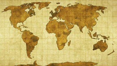 Wall mural world map on old paper
