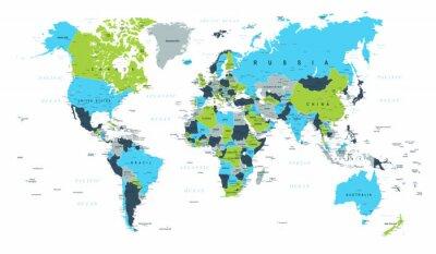 Wall mural World Map Political Blue Green Brown Vector