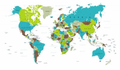 Wall mural World Map Political Blue Green Gray Vector