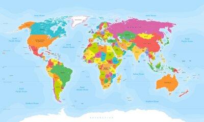 Wall mural World map vector. English/US labels