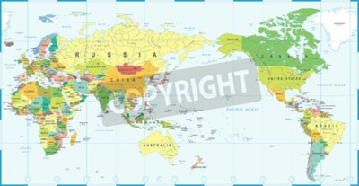 Wall mural World map white blue, Asia in center vector.