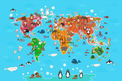 Wall mural World map with animals. Monkey and hedgehog, bear and kangaroo, hare wolf panda and penguin and parrot. Animals world map vector illustration in cartoon style