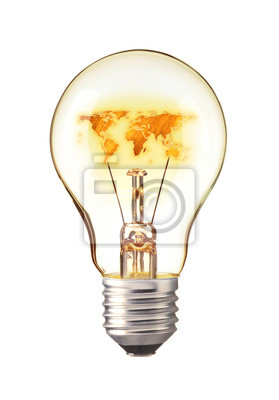World Map,World atlas in tungsten light bulb