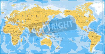 Wall mural World map yellow blue, Asia in Center vector.