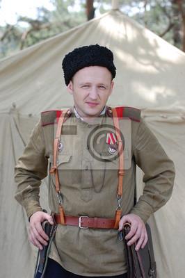 WWII reenactment. Soviet soldier