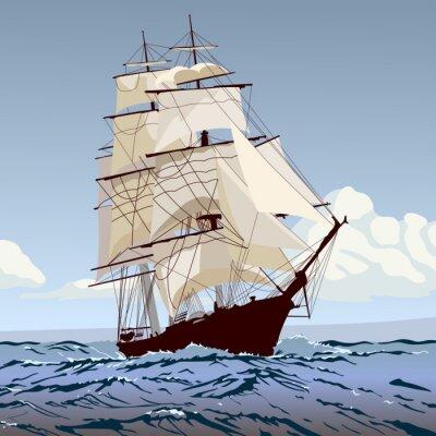 Wall mural корабль с парусами бежит по волнам