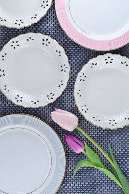 テーブル,皿,チューリップ,花