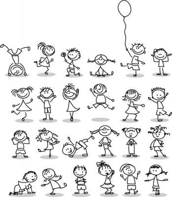Wall mural Симпатичные счастливых детей мультфильм