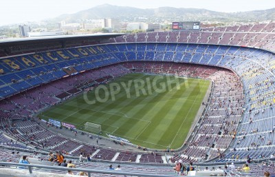 Wall mural BARCELONA, SPAIN – AUGUST 18: A sold out Barcelona football stadium Camp Nou during the match between FC Barcelona and FC Levante on August 18, 2013 in Barcelona, Spain.