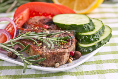 Grilled Steak Мет with rosemary and vegetables