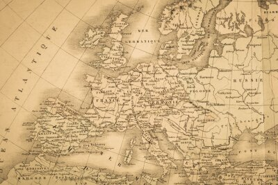 Wall mural アンティークの世界地図 ヨーロッパ大陸