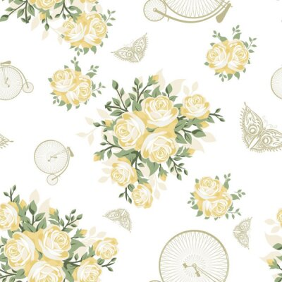 Wall mural Yellow Flowers, Butterflies and Bicycles Seamless Pattern