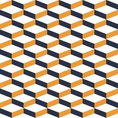 Wall mural Yellow Geometric Illusion Seamless Pattern
