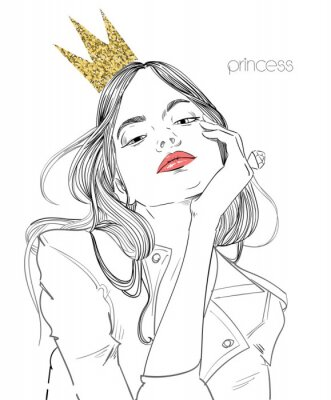 Wall mural young beautiful woman with crown