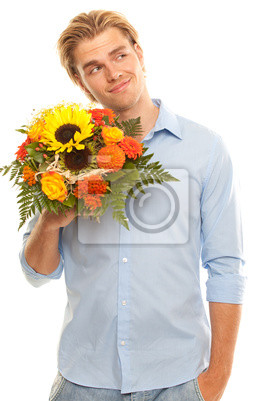young cavalier with bouquet