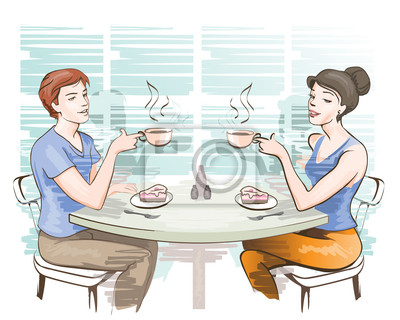 young couple at the cafe
