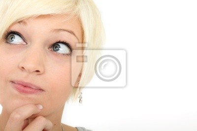 Young woman looking critically