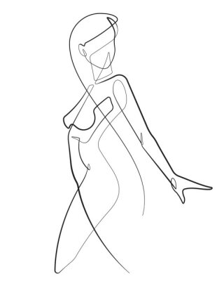 Wall mural Young Woman One Continuous Line Abstract Vector Icon Graphic Drawing