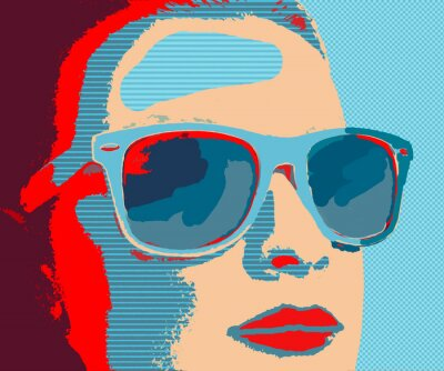 Wall mural Young woman portret with sunglasses in pop-art style