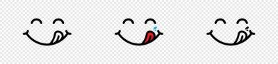 Wall mural Yummy Face smile icon. delicious emoji, Vector illustration