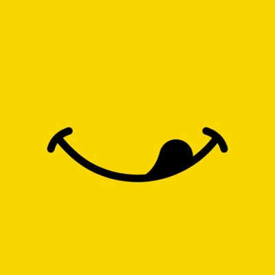 Wall mural Yummy smile emoticon lick mouth lips on yellow background. Yummy emoji tasty or hungry smile. Vector illustration.