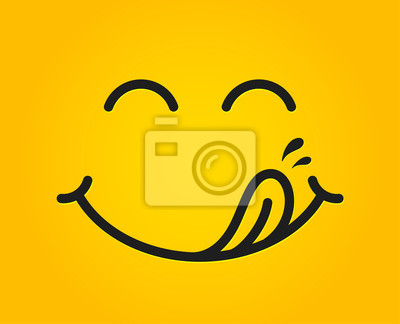 Wall mural Yummy smile emoticon with tongue lick mouth. Tasty food eating emoji face. Delicious cartoon with saliva drops on yellow background. Smile face line design. Savory gourmet. Yummy vector