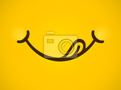 Wall mural Yummy smile vector cartoon line emoticon lick mouth lips with tongue. Delicious tasty eating emoji face yellow background