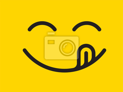 Wall mural Yummy smile vector cartoon line emoticon with tongue lick mouth. Delicious tasty food eating emoji face on yellow design background