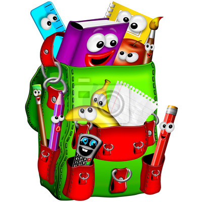 Wall mural Zaino Scuola-School Backpack-Sac à Dos école-Cartoon