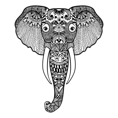Wall mural Zentangle stylized Elephant. Hand Drawn lace vector illustration