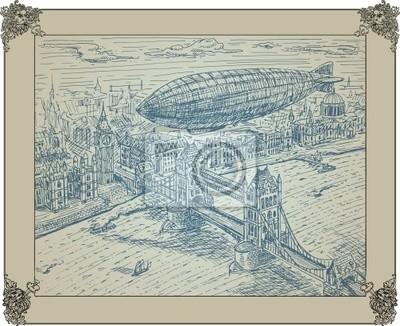 zeppelin flying above bridge