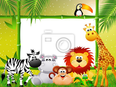 Wall mural Zoo animals cartoon
