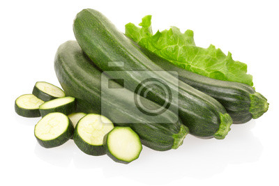 Wall mural Zucchini courgette on white, clipping path included