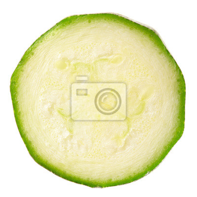 Wall mural Zucchini slice isolated, clipping path included