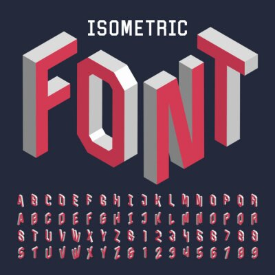 Poster 3d isometric alphabet vector font. Isometric letters, numbers and symbols. Three-Dimensional stock vector typography for headlines, posters etc.