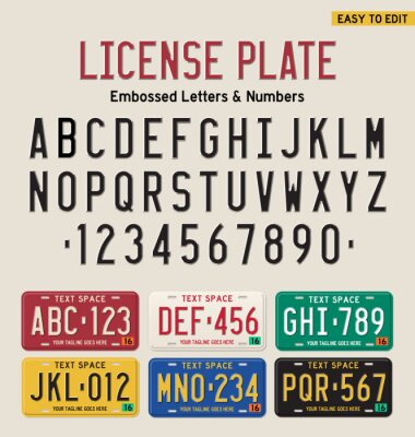 Poster 3d license plate font and license plate set
