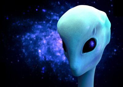 Poster 3d render of an alien, Extraterrestrial Visitor