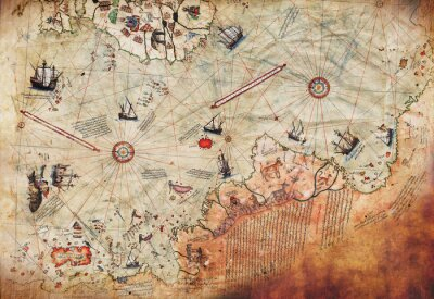 Poster 3D Wallpaper design with an old ship of piri reis map for mural print