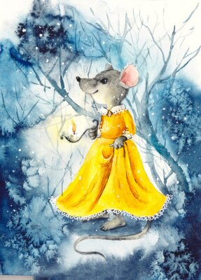 Poster A mouse with a lantern in a yellow dress. Watercolor hand drawn illustration